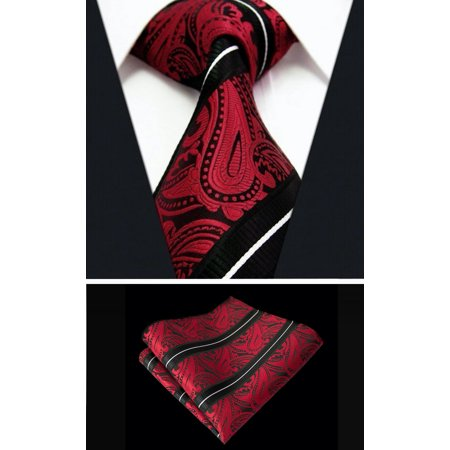 Scott Allan Mens Striped Paisley Necktie & Pocket Square - Red & Black Tie Set - Paisley Satin Tie