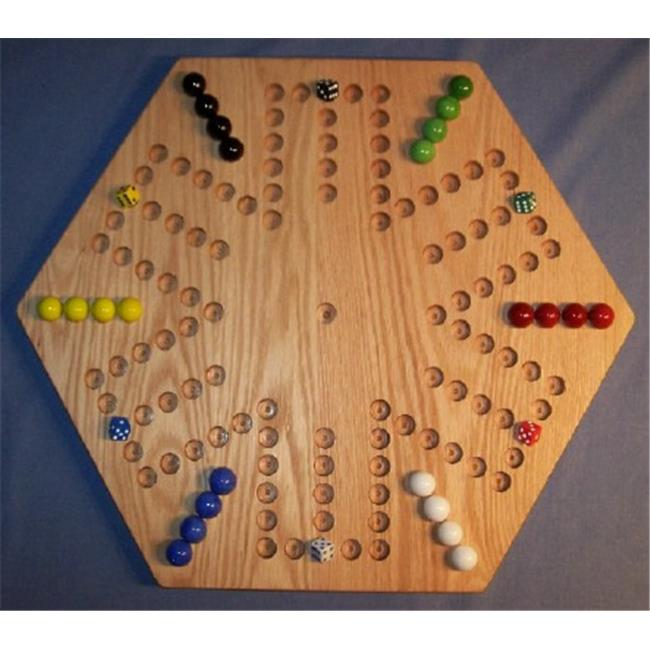 THE PUZZLE-MAN TOYS W-1936 Wooden Marble Game Board - Aggravation - 20 in. Hexagon - 6-Player  6-Hole - Red Oak