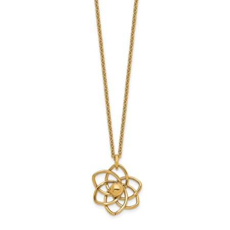 14K Yellow Gold Polished Flower with 2 In Extender Necklace