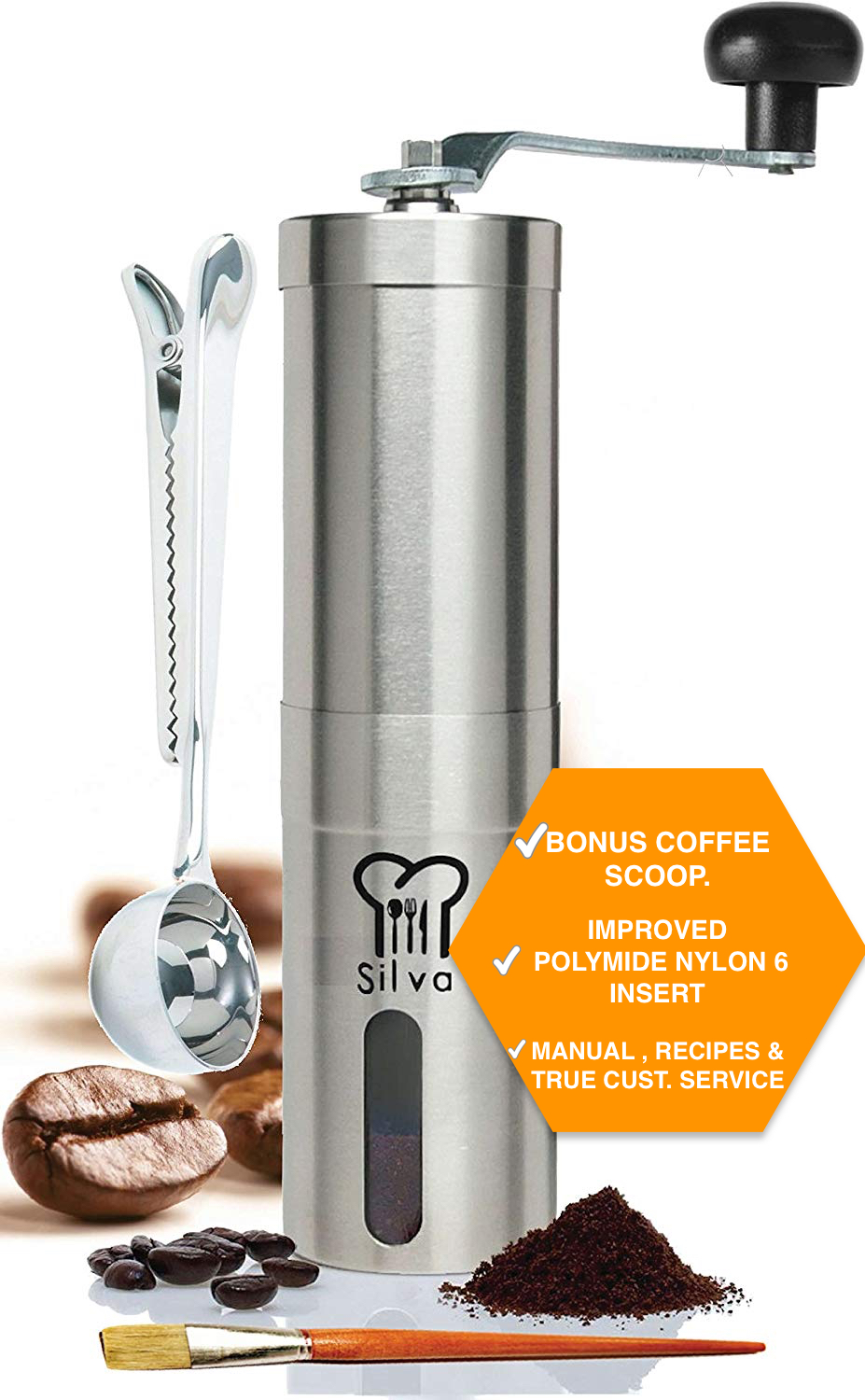 Silva Manual Coffee Grinder , Hand Coffee Bean Grinder Conical Burr Mill Perfect for Aeropress, Turkish Beans, Espresso, French Press, and... by Silva Restaurant and Kitchen Tools