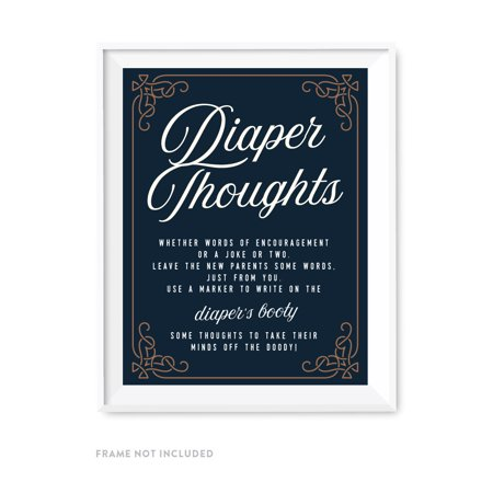 Navy Blue Art Deco Vintage Party Baby Shower,  Diaper Thoughts Party Sign, 8.5x11-inch, 1-Pack, Games