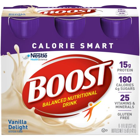16 Boost - Boost Calorie Smart Balanced Nutrition Drink Vanilla Delight, 8 fl oz Bottles, 6 Count