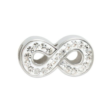 Stainless Steel Infinity Clear Crystal Charm