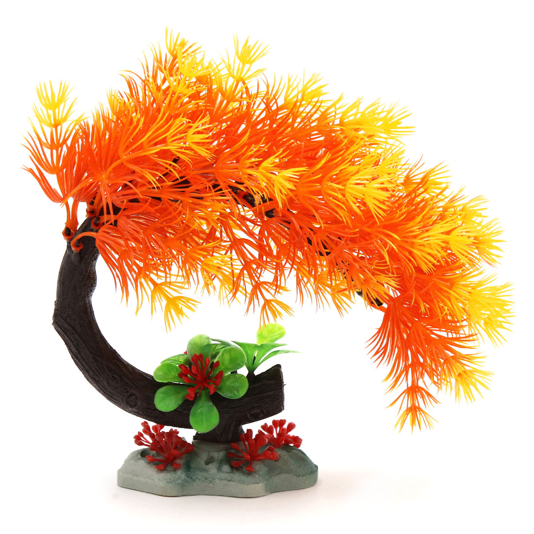 Orange Plastic Plant Aquarium Fish Betta Tank Landscape Decoration Home Decor