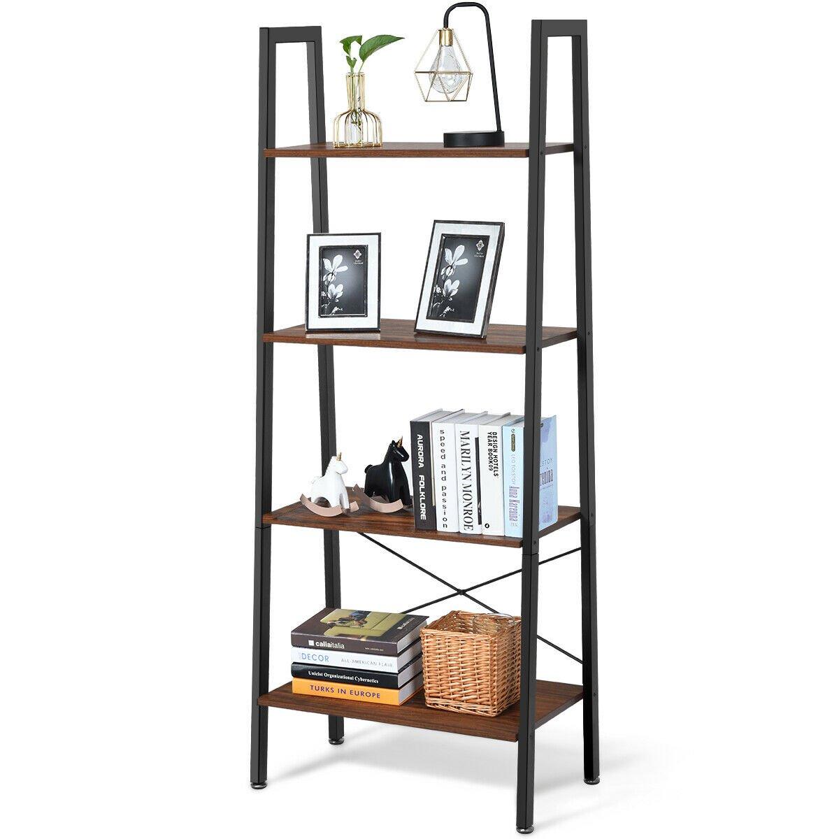 Gymax 4 Tier Ladder Shelf Ladder Bookcase Bookshelf Display Rack Plant Stand Wood
