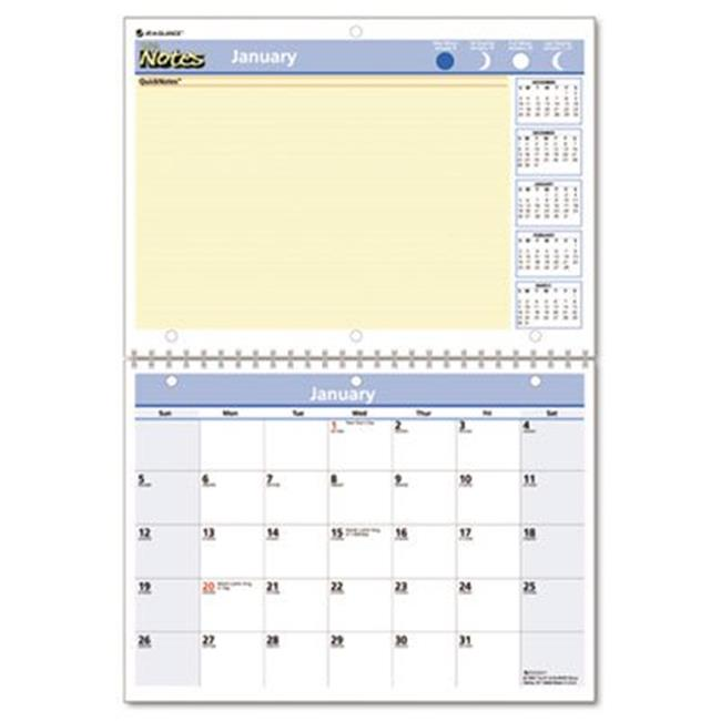 QuickNotes Desk/Wall Monthly Calendar  Wirebound  11 x 8 Pages  11 x 16 Overall