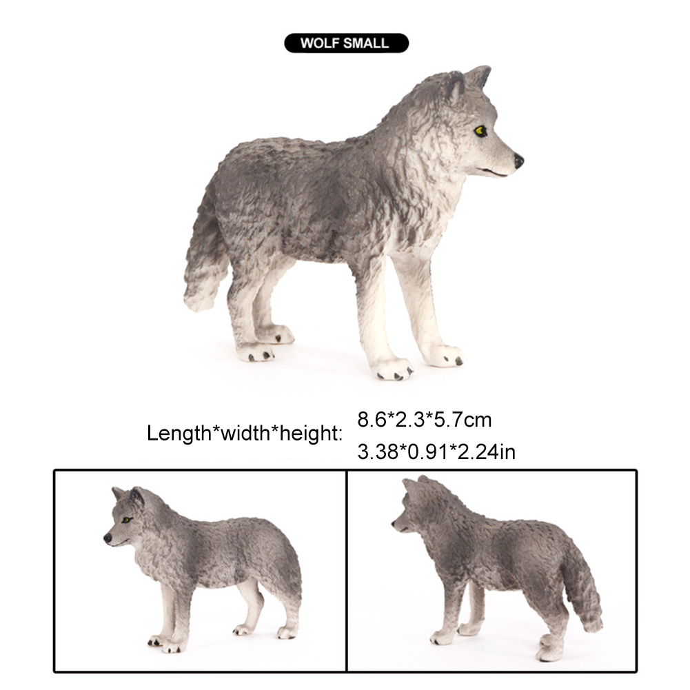 9pcs Wolf Toy Figurines Wolf Animals Figures for Kids Wolf Toy Playset Cake Toppers Decoration
