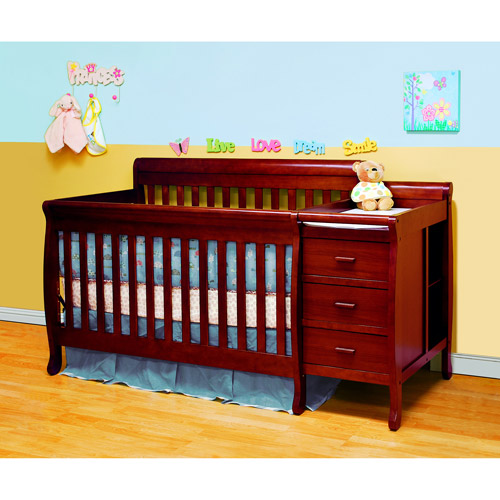 Athena Kimberly 3-in-1 Convertible Crib and Changer Combo, Cherry