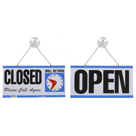 Hillman 848653 Open Closed with Clock 2 Sided Reversible Sign, Multicolored Plastic, 5-3/4x11-1/4 Inches 1-Sign](Sign For Open)