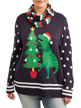Self Esteem Juniors' Plus Size Ugly Christmas Sweater with Scarf