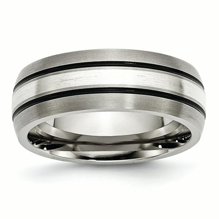 Titanium Grooved 925 Sterling Silver Inlay 8mm Brushed/ Wedding Ring Band Size 10.50 Precious Metal Fine Jewelry For Women Gift Set Ladies Brushed Metal