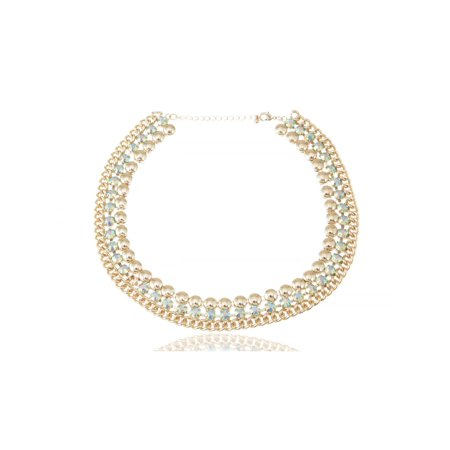 Contemporary Inspired Golden Tone Three Row Choker Adjustable Necklace