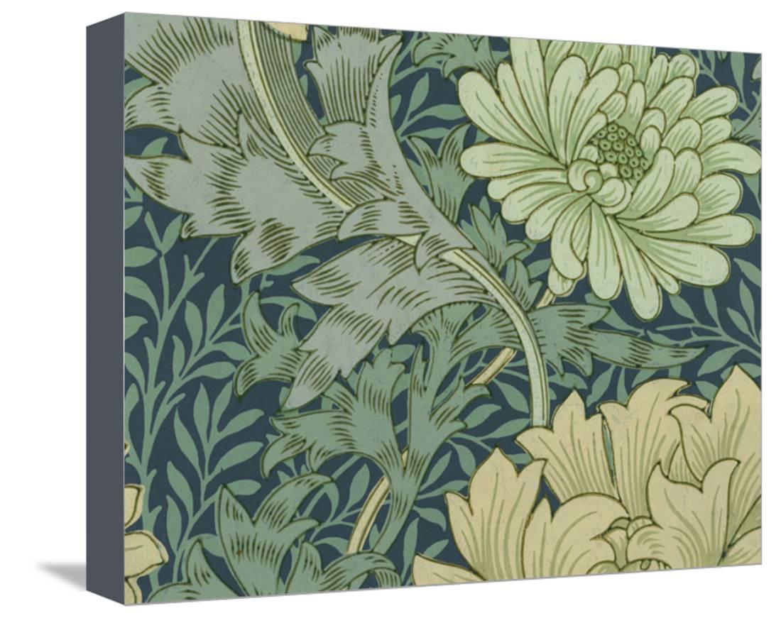 William Morris Wallpaper Sample With Chrysanthemum, 1877
