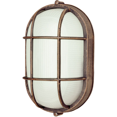 "BelAire Oval Bulkhead 9"" Outdoor Light, Rust"