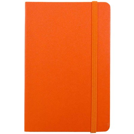JAM Paper Hardcover Notebook with Elastic Band, Large, 5 7/8 x 8 1/2 Journal, Sunburst Orange, 70 Lined Sheets, Sold Individually