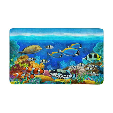 MKHERT Tropical Fishes and Coral Reef Doormat Rug Home Decor Floor Mat Bath Mat 30x18 inch ()