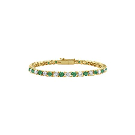 Emerald and Diamond Tennis Bracelet with 1.00 CT TGW on 18K Yellow Gold - image 2 of 2
