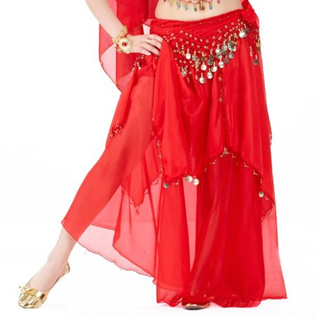 Choli Belly Dance - BellyLady Belly Dance Chiffon Coins Full Circular Skirt-Red