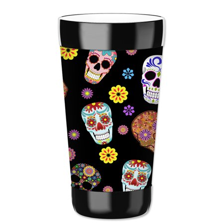 Mugzie 16-Ounce Tumbler Drink Cup with Removable Insulated Wetsuit Cover - Sugar Skull - Suger Skull