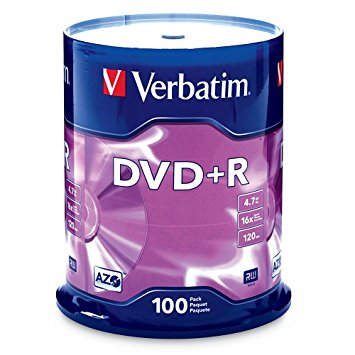 Verbatim DVD+R (4.7 GB) (16X) Branded Surface (Pk=100/Spindle) 95098