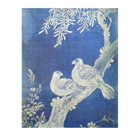 Two Doves on a Bough, from 10 Panel Screen, 19th Century, Choson Period, Coloured Silk, Korea Print Wall Art By Han-Ch