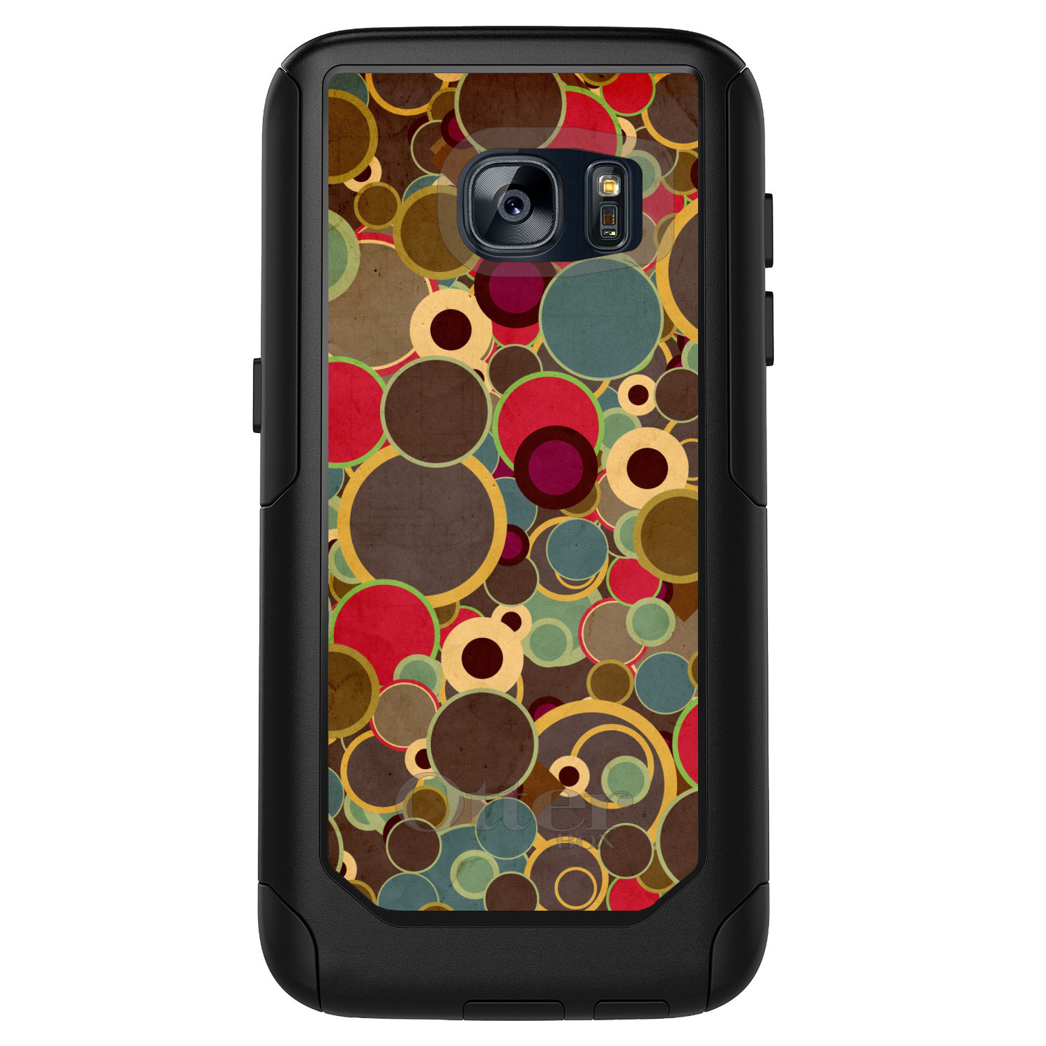 DistinctInk™ Custom Black OtterBox Commuter Series Case for Samsung Galaxy S7 - Brown Red Yellow Circles