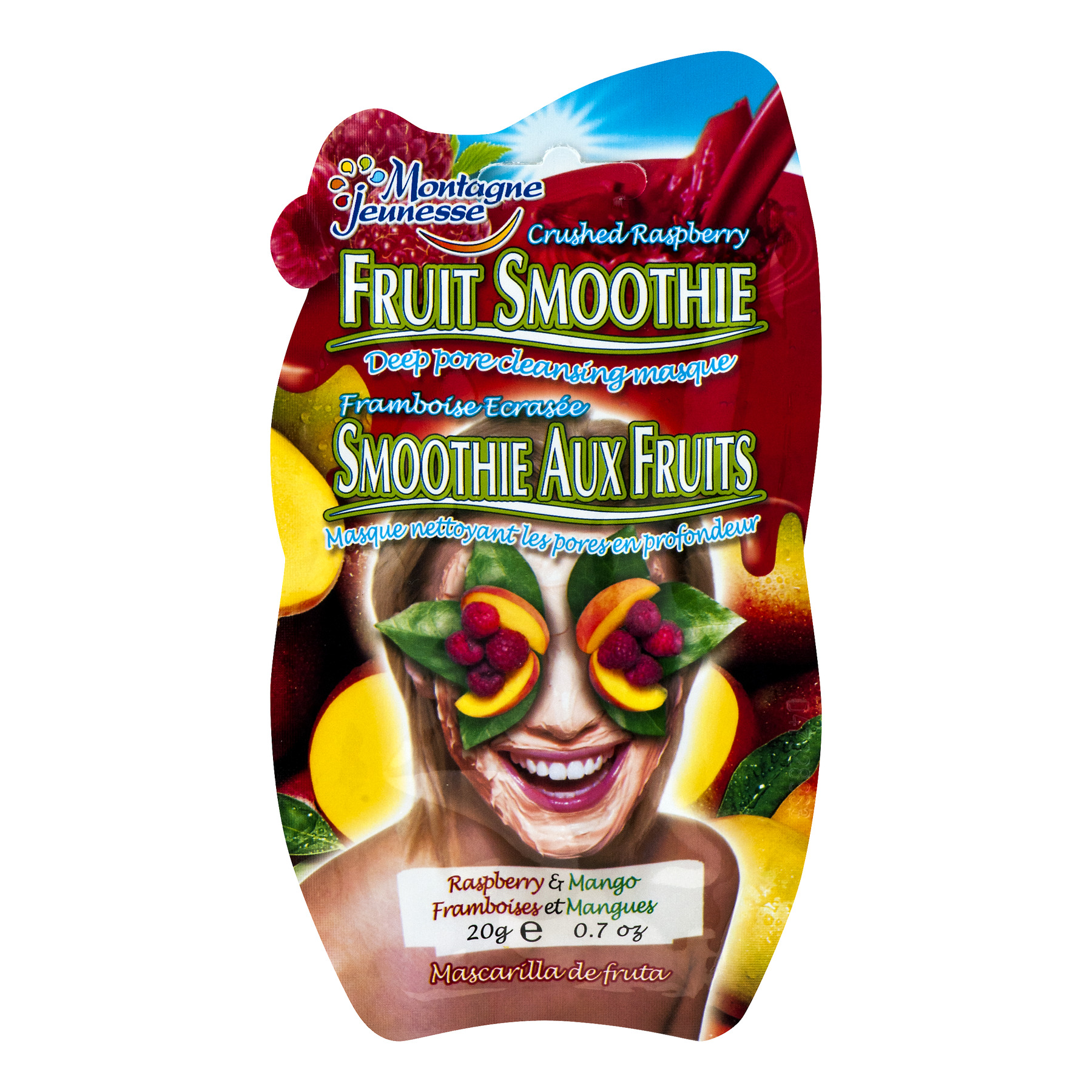 7th Heaven Fruit Smoothie Face Mask with Peach, Mango + Raspberry, 0.7 oz