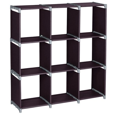 3 Tiers 9 Cubes Storage Shelf Organizers, Dark Brown Book Shelf Cube Storage Shelf for Clothes, Bookcase Plastic Storage Cabinets for Bedroom Living Room Office PKCH3863