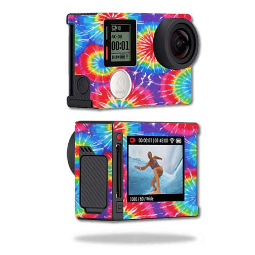 Mightyskins Protective Vinyl Skin Decal Cover for GoPro Hero4 Silver Edition Camera Digital Camcorder wrap sticker skins Tie Dye 1