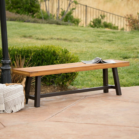 Carly Outdoor Acacia Wood and Rustic Metal Bench, Sandblast -