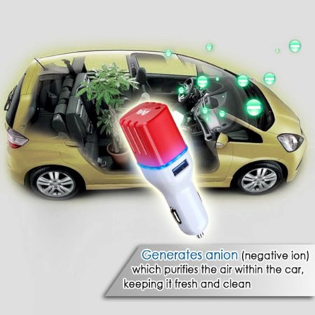 Insten LED Dual Port USB Car Charger Adapter 3.1A with Anion Air Purifier For iPhone 6 6S Plus SE 5S iPad Air Mini Pro iPod Samsung Galaxy HTC LG Huawei ZTE Smartphone Cell phone Tab Tablet(White/Red) - image 5 de 7