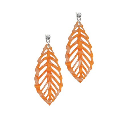 Acrylic Large Leaf Pearly Orange Clear Crystal Post