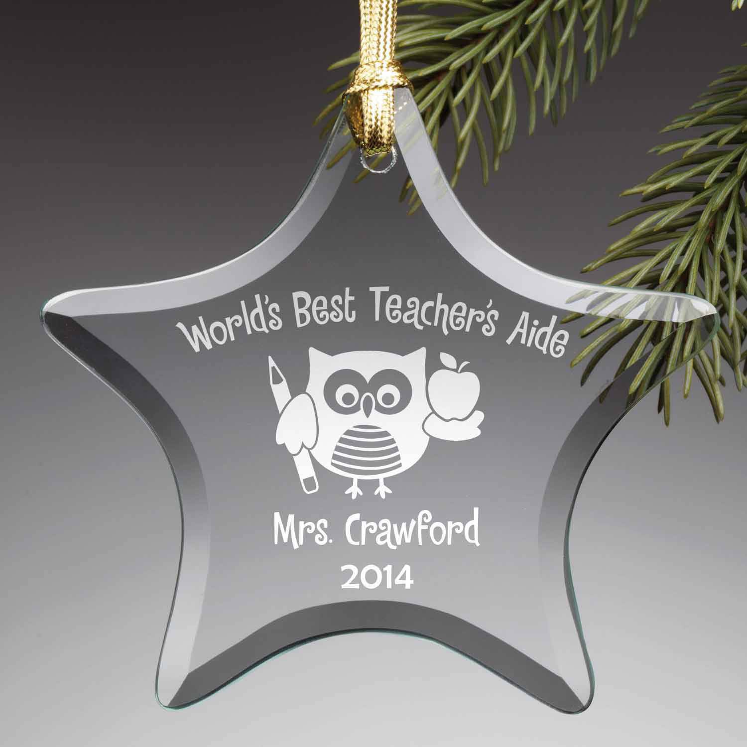 Personalized Teacher's Aide Glass Ornament