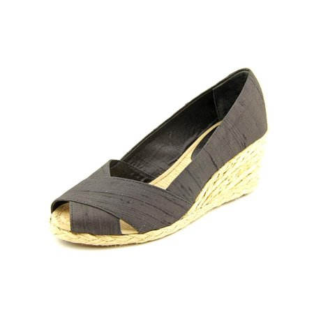 e417e36ca Lauren Ralph Lauren - Cecilia Women Open Toe Canvas Black Wedge Heel ...