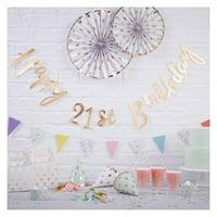 """Happy 21st Birthday"" Balloon Bunting Gold"