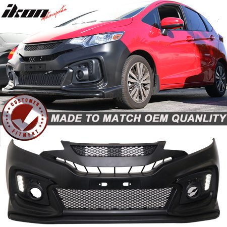 Fits 15-16 Honda Fit MU RR GK5 Front Bumper Conversion Cover w/ DRL Lights