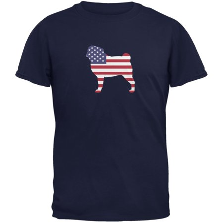 4th of July Patriotic Dog Pug Navy Adult T-Shirt - 4 Of July Shirts