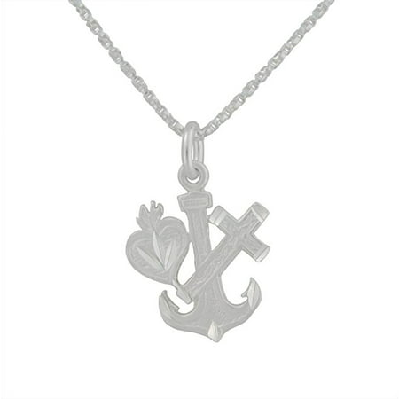 Sterling Silver Anchor, Heart, and Cross Charm Pendant Necklace