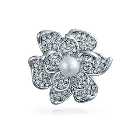 Bridal Crystal White Fashion Simulated Pearl Large Statement Flower Rose Brooch Pin For Women For Mother Silver (Crystal Simulated Pearl Brooch)