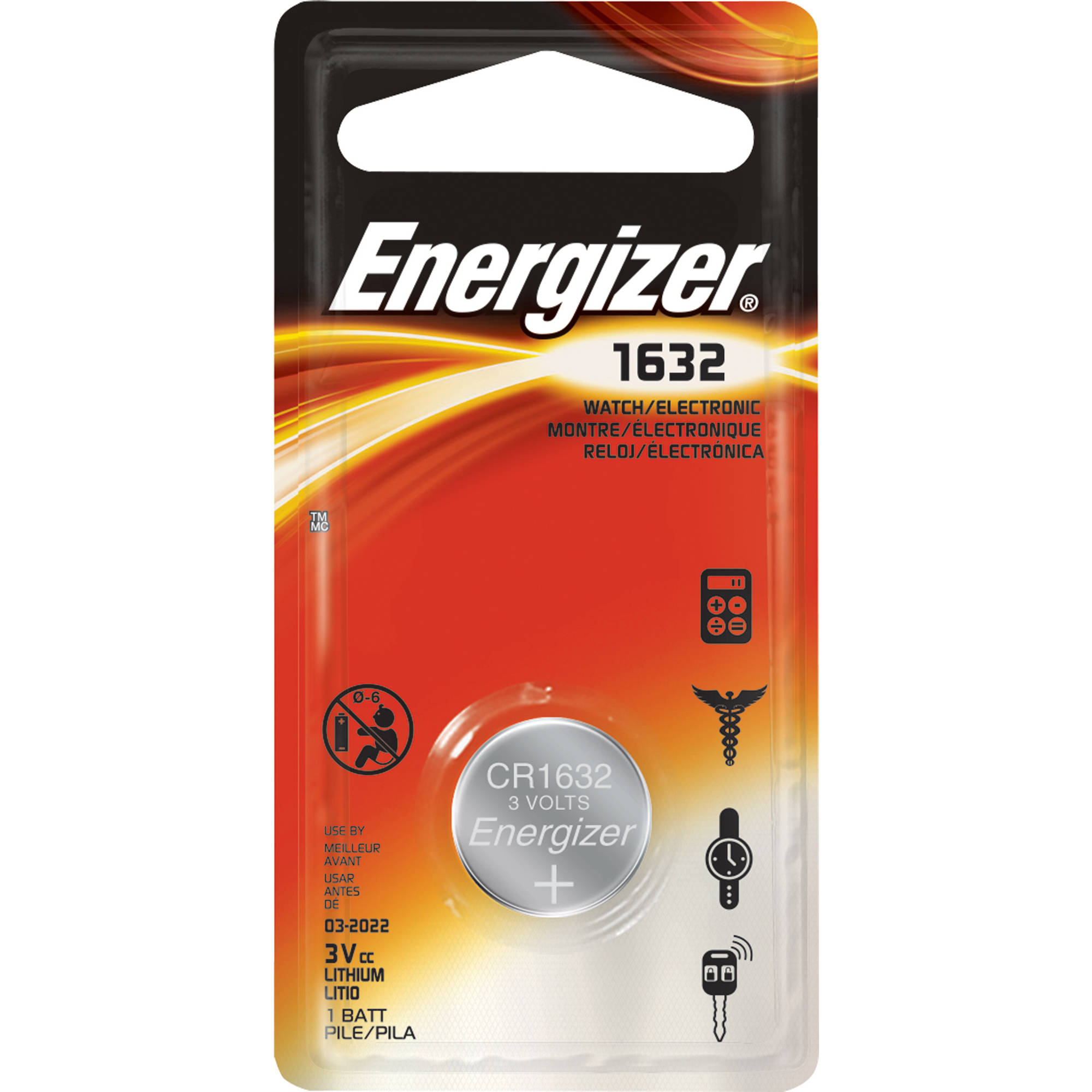 Energizer Watch/Electronic Batteries, 1632 Battery, 1 pack, Lithium Button Cell