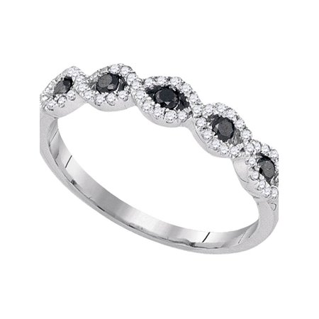 10kt White Gold Womens Round Black Color Enhanced Diamond Band Ring 1/3 Cttw - image 1 of 1