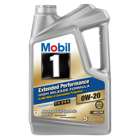 (3 Pack) Mobil 1 Extended Performance High Mileage Formula 0W20, 5 qt