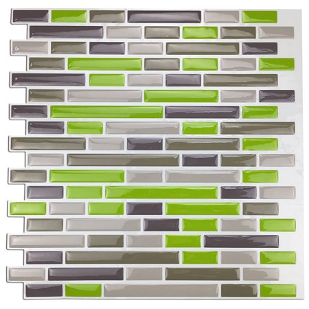 "Art3d 12"" x 12"" Kitchen Backsplash Peel and Stick Tile, Smart Green Brick Design 3D Wall Stickers"