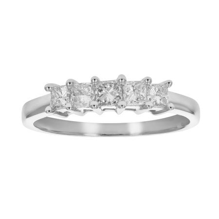 1/2 CT 5-Stone Princess Diamond Ring in 14K White Gold