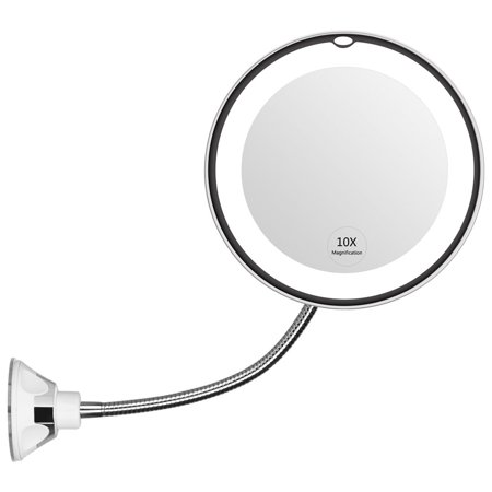 "TekDeals Flexible Gooseneck 6.8"" LED Lighted 10x Magnifying Makeup Mirror With Suction Cup"