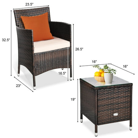 Gymax 3PCS Patio Outdoor Rattan Furniture Set w/ Cushioned Chairs Coffee Table - image 10 of 10