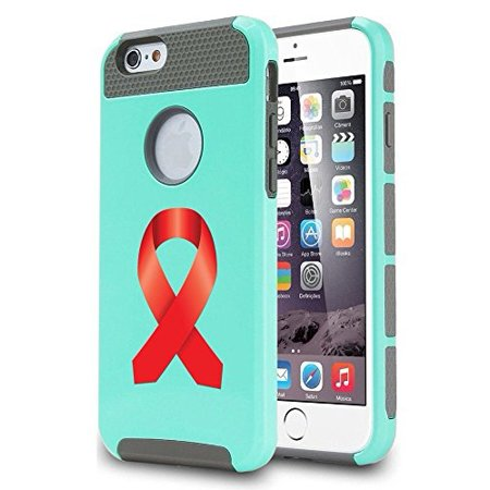 Apple iPhone SE Shockproof Impact Hard Soft Case Cover Heart Disease - AIDS Awareness Ribbon (Teal),MIP - Aids Awareness Ribbon