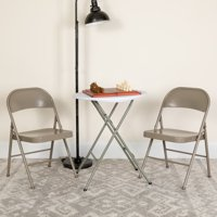 Flash Furniture 4 Pk. HERCULES Series Double Braced Gray Metal Folding Chair
