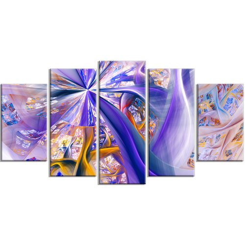 Design Art 'Purple Yellow Fractal Curves' Graphic Art Print Multi-Piece Image on Canvas