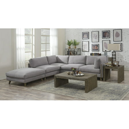 Pillow Top Sectional (Emerald Home Macyn Dove Gray Modular Sectional, with Pillows, Deep Seating, Loose Cushions, And Wood)